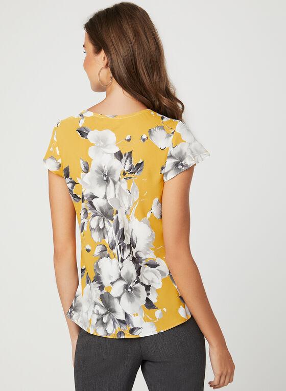 Haut à motif floral et manches courtes , Jaune, hi-res