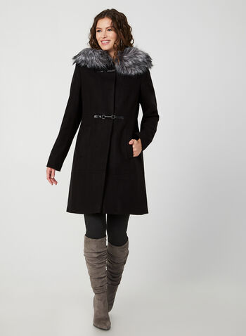 Faux Fur Trim Coat, Black, hi-res,  coat, long sleeves, wool blend, hood, faux fur, toggle, fall 2019, winter 2019