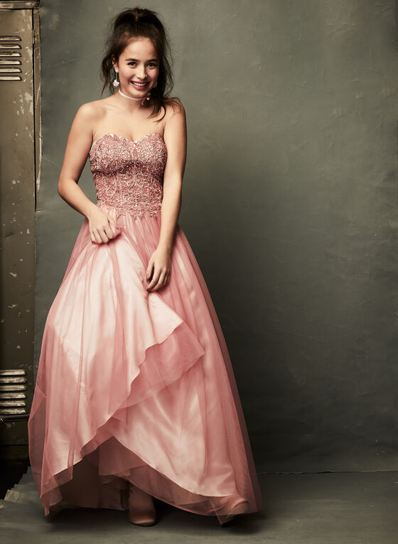 Beaded Corset Ball Gown, Pink, hi-res