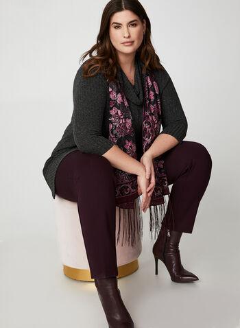 Pantalon à taille élastique et jambe étroite, Violet,  jambe étroite, coupe ajustée, taille pull-on, à enfiler, automne hiver 2019