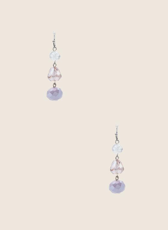 Faceted Stone Dangle Earrings, Purple