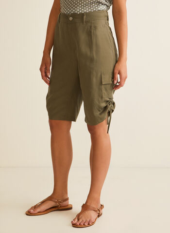 Tencel Cargo Bermuda Shorts, Green,  shorts, cargo, bermudas, drawstring, zip fly, pockets, spring summer 2020