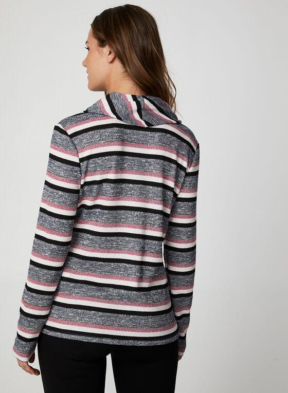 Metallic Striped Rib Knit Top, Black