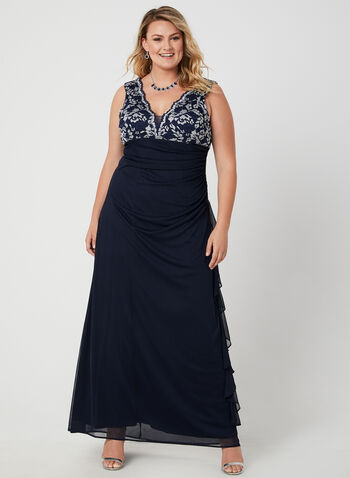 Sleeveless Lace Bodice Dress, Blue, hi-res