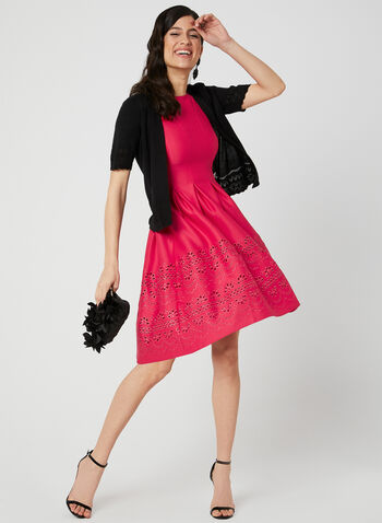 Fit & Flare Cutout Dress, Pink, hi-res