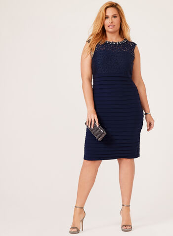 Beaded Neck Shutter Tuck Dress, Blue, hi-res