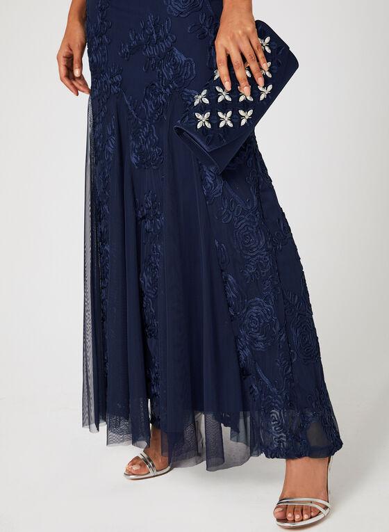 Robe longue à broderies ton sur ton, Bleu, hi-res