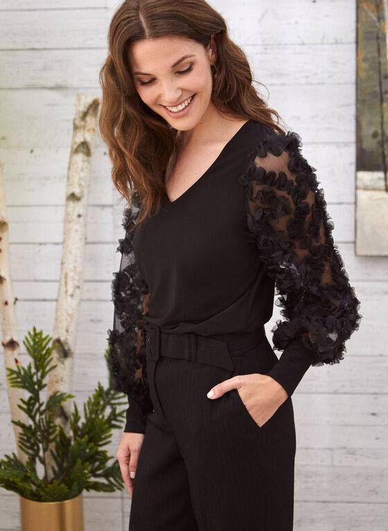 Embellished Mesh Sleeve Top, Black