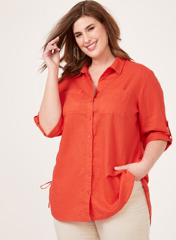 Button Front Linen Tunic, Red, hi-res