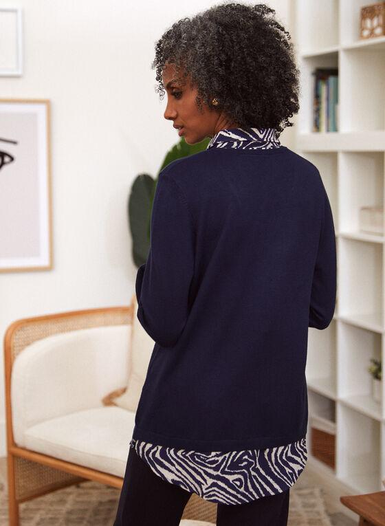 Animal Print Fooler Sweater, Blue