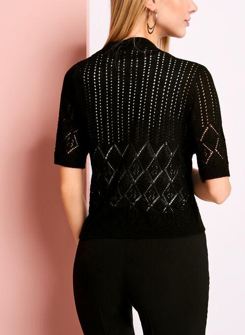 Boléro en tricot diamant avec manches coude, Noir, hi-res