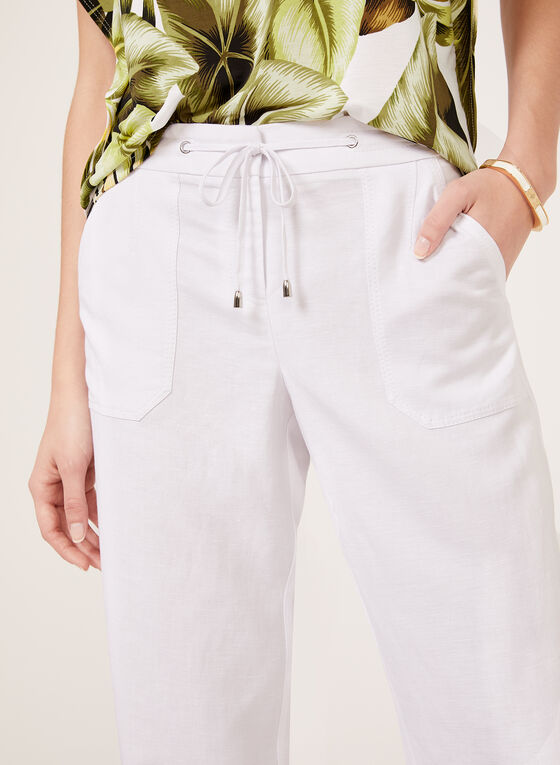 Modern Fit Linen Blend Pants, White, hi-res