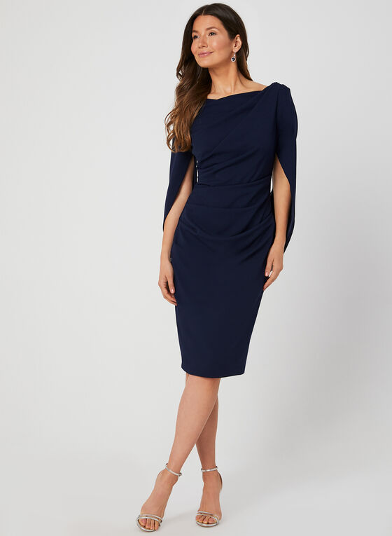 Draped Crepe Dress, Blue, hi-res
