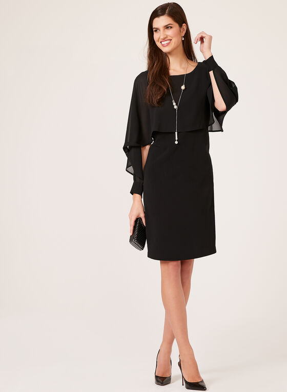 Picadilly - Chiffon Capelet Crepe Dress, Black, hi-res