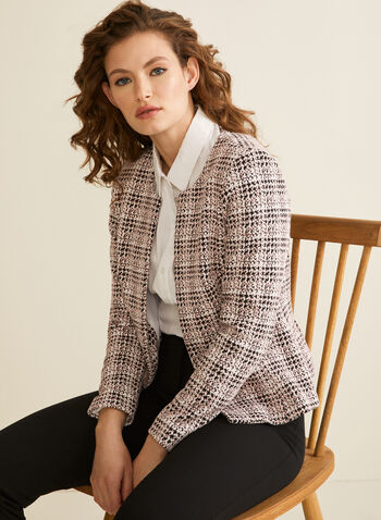 Abstract Plaid Pattern Jacket, Black,  jacket, open front, plaid, abstract, stretchy, lined, shoulder pads, spring summer 2020