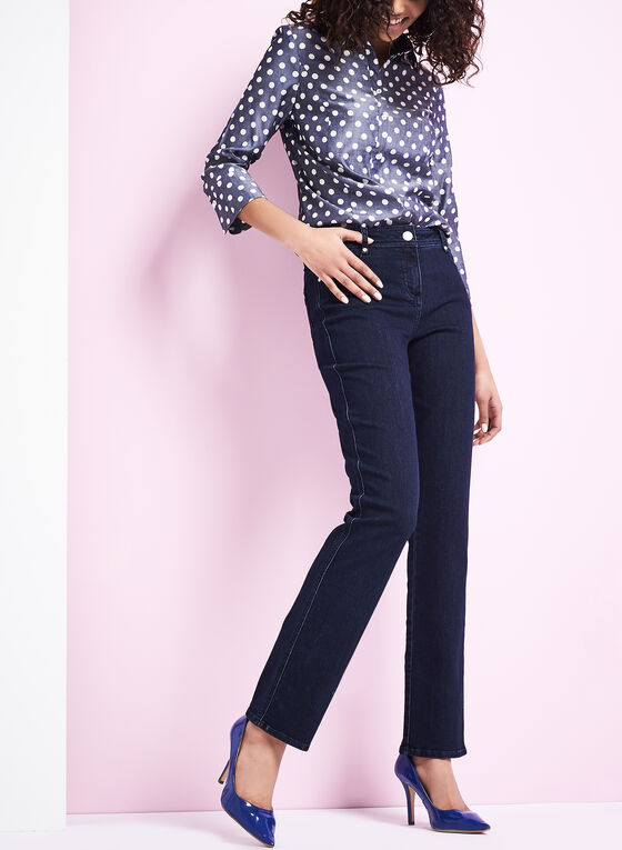 Polka Dot Button-Down Shirt, Blue, hi-res