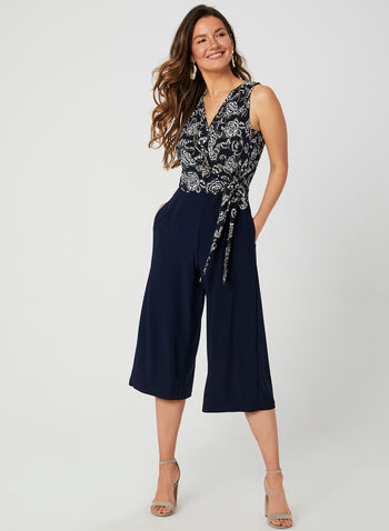 Floral Print Jersey Jumpsuit, Blue, hi-res,  wide leg, sleeveless, textured, faux wrap, fall 2019