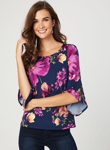 Floral Print Angel Sleeve Top, Blue, hi-res