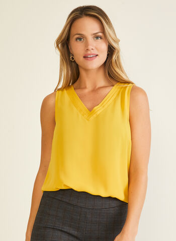 Sleeveless V-Neck Blouse, Yellow,  blouse, sleeveless, v-neck, tiered, fall winter 2020