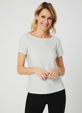 Jacquard T-Shirt, White, hi-res