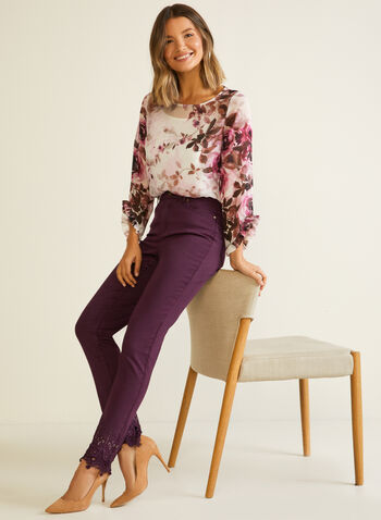 Embroidered Hem High Rise Jeans , Purple,  fall winter 2020, jeans, embroidered, pockets, high rise, slim leg