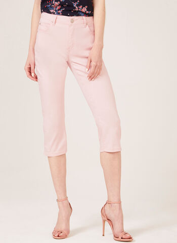 Simon Chang – Denim Capri Pants, Pink, hi-res