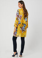 Floral Print Open Front Duster, Yellow