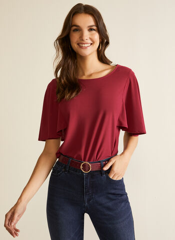 Draped Sleeve Top, Purple,  fall winter 2020, top, blouse, draped sleeve, crepe, made in canada