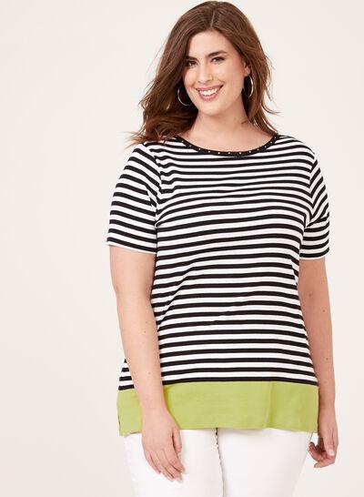 T-shirt rayé détails strass et bande contrastante