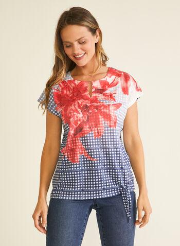 T-shirt noué fleuri et rayé , Bleu,  t-shirt, manches courtes, col ajouré, fleurs, carreaux, printemps été 2020