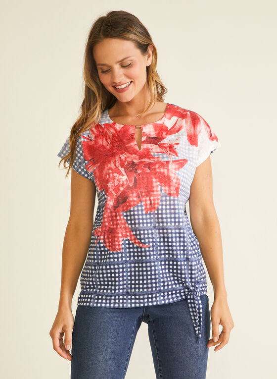Floral & Gingham Print Tee, Blue
