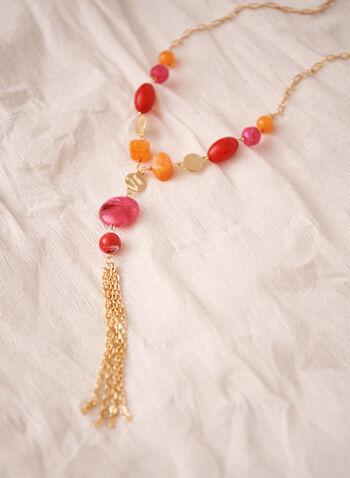 Collier à billes colorées et pampille dorée , Rouge,  collier, bijou, accessoire, billes, couleurs, doré, pampille, printemps été 2021