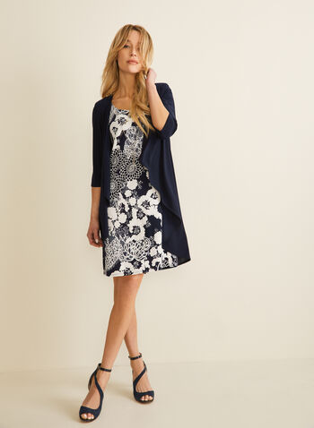 Cardigan & Floral Dress Set, Blue,  ensemble, set, dress, cardigan, floral, necklace, duster, 3/4 sleeves, sleeveless, spring summer 2020