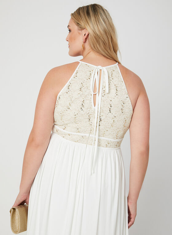 Glitter Lace Jersey Dress, Off White, hi-res