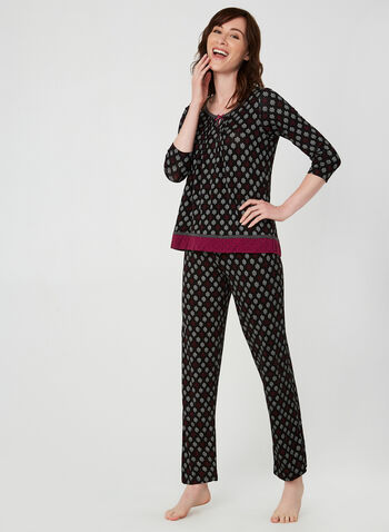 René Rofé - Pyjama 2 pièces imprimé fantaisie, Noir,  boucle, ajour, bordures contrastantes, automne hiver 2019