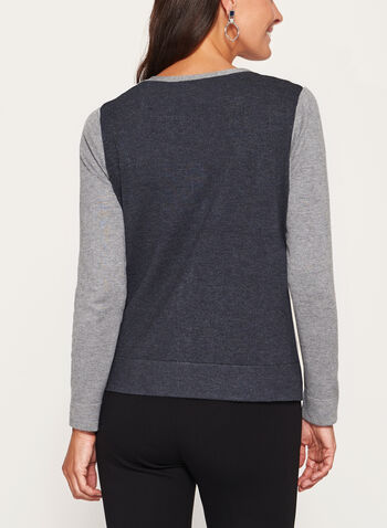 Colour Block Pointelle Yoke Cardigan, , hi-res