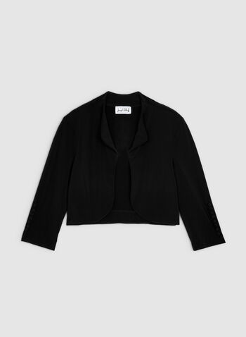 Joseph Ribkoff - Boléro en jersey , Noir, hi-res,  ouvert, épaulettes, manches ¾, boutons, manches 3/4, automne hiver 2019