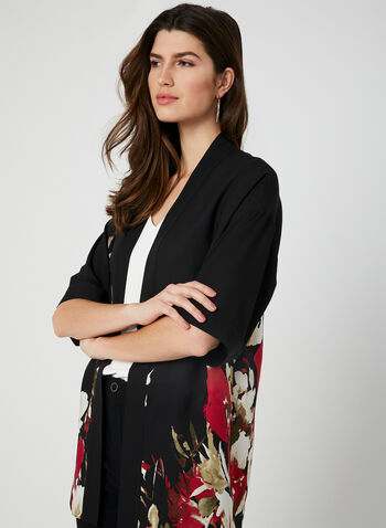 Floral Print Open Front Blouse, Black, hi-res