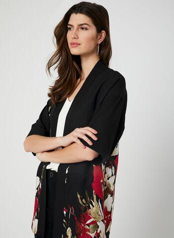 Kimono en mousseline fleurie, Noir, hi-res
