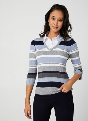 Stripe Print Fooler Sweater, Blue,  knit, sweater, fooler, shirt collar, 3/4 sleeves, stripe print, fall 2019, winter 2019