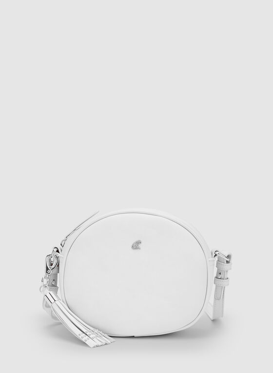 Round Crossbody Bag, White, hi-res