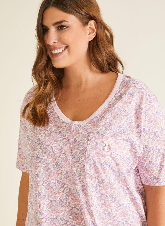 Floral Print Nightshirt, Pink