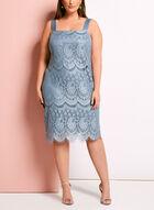 Lace Satin Dress with Mesh Bolero, Grey, hi-res