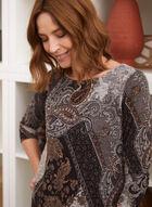 Paisley Print Dress With Pockets, Black