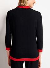 Pull contrastant en tricot avec écharpe à nouer, Noir, hi-res