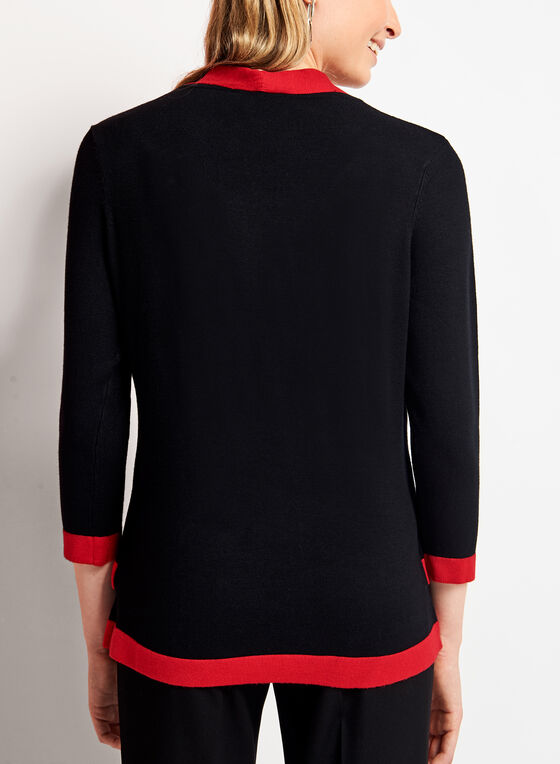 Tie Neck Fooler Sweater, Black, hi-res