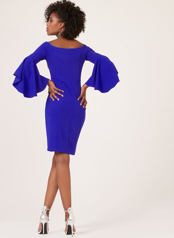 Off The Shoulder Bell Sleeve Dress, Blue, hi-res