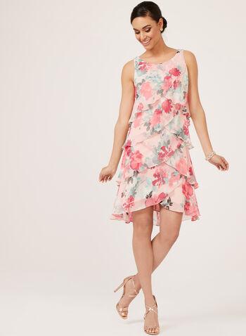 Floral Print Tiered Chiffon Dress, Pink, hi-res
