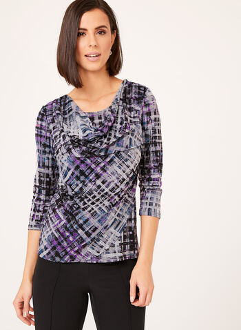 Drape Neck Jersey Top, Multi, hi-res