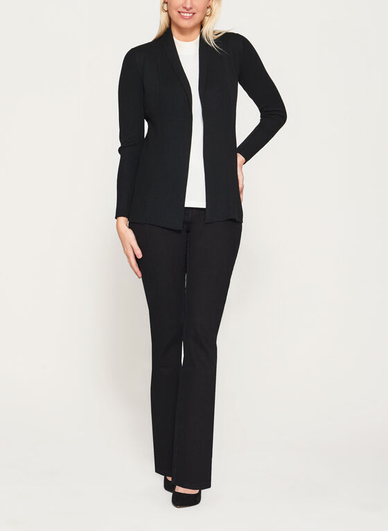 Long Sleeve Rib Mitered Cardigan , Black, hi-res